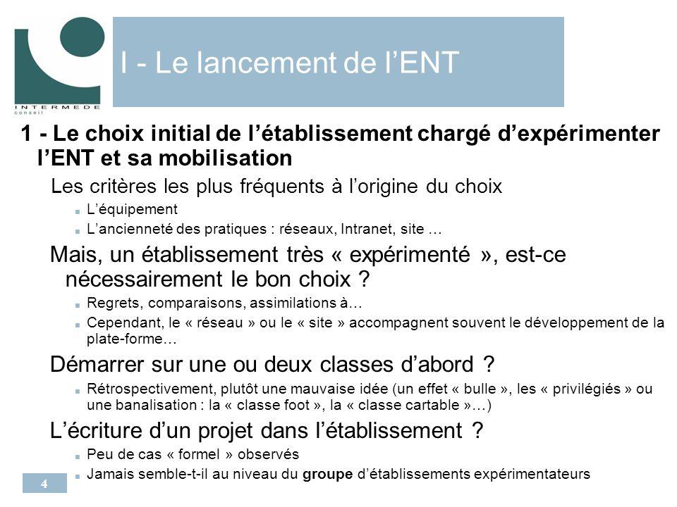 5 I - Le lancement de lENT 2 – La formation préalable et limplication Les élèves : formés par professeur principal ou animateur.