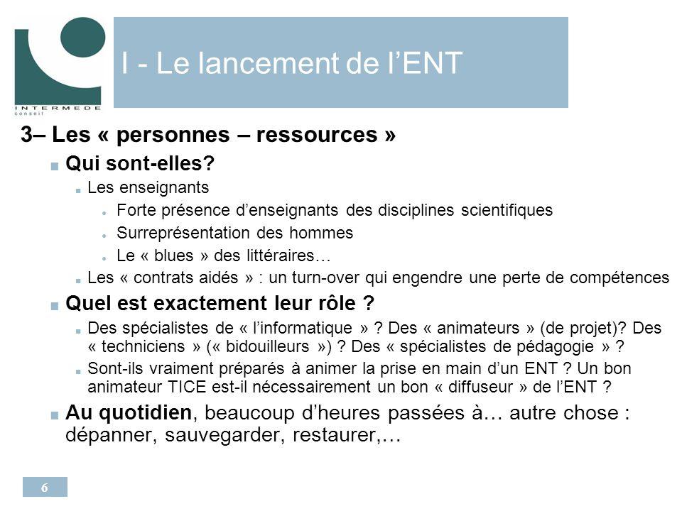 6 I - Le lancement de lENT 3– Les « personnes – ressources » Qui sont-elles.