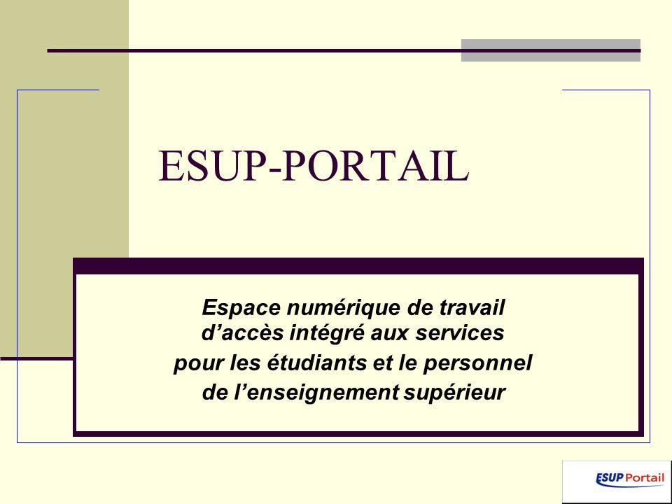 ESUP-PORTAIL Espace numérique de travail daccès intégré aux services pour les étudiants et le personnel de lenseignement supérieur