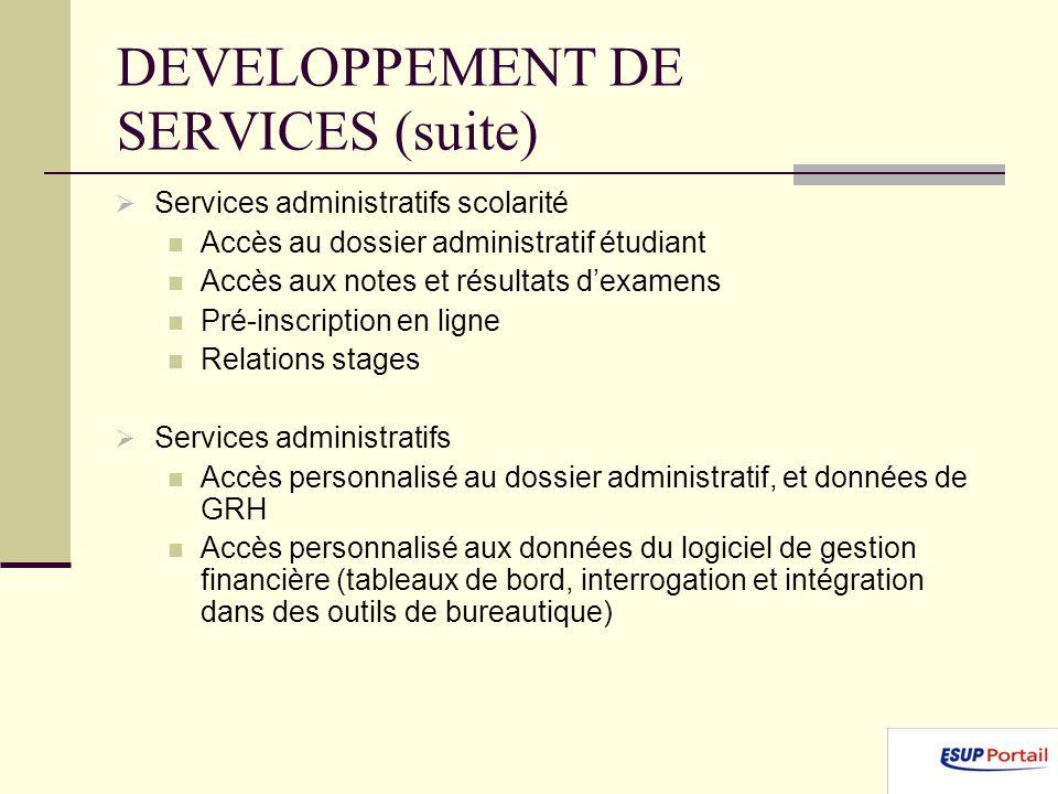 DEVELOPPEMENT DE SERVICES (suite) Services administratifs scolarité Accès au dossier administratif étudiant Accès aux notes et résultats dexamens Pré-