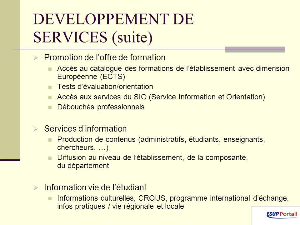 DEVELOPPEMENT DE SERVICES (suite) Promotion de loffre de formation Accès au catalogue des formations de létablissement avec dimension Européenne (ECTS