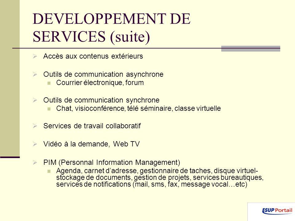 DEVELOPPEMENT DE SERVICES (suite) Accès aux contenus extérieurs Outils de communication asynchrone Courrier électronique, forum Outils de communicatio