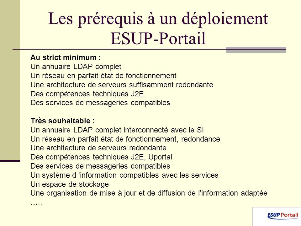 Les prérequis à un déploiement ESUP-Portail Au strict minimum : Un annuaire LDAP complet Un réseau en parfait état de fonctionnement Une architecture