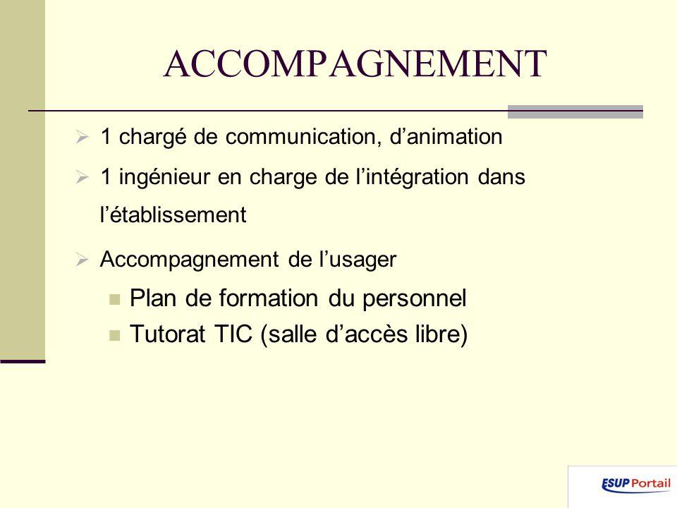 ACCOMPAGNEMENT 1 chargé de communication, danimation 1 ingénieur en charge de lintégration dans létablissement Accompagnement de lusager Plan de formation du personnel Tutorat TIC (salle daccès libre)
