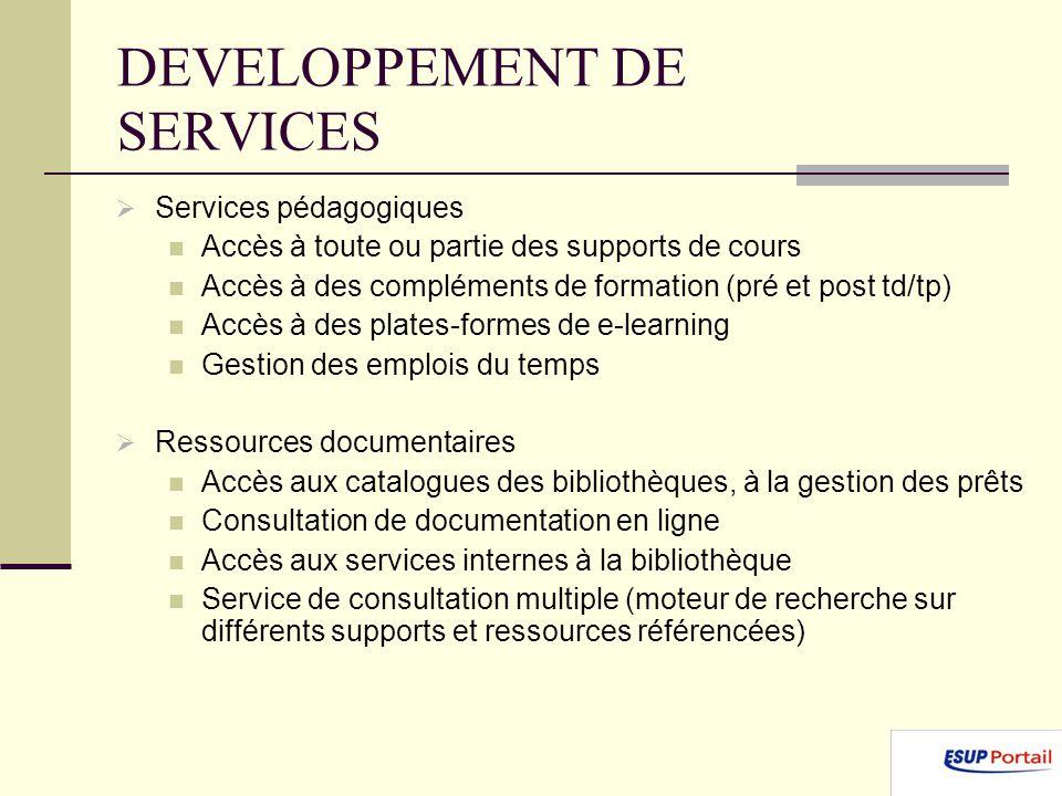 DEVELOPPEMENT DE SERVICES Services pédagogiques Accès à toute ou partie des supports de cours Accès à des compléments de formation (pré et post td/tp)
