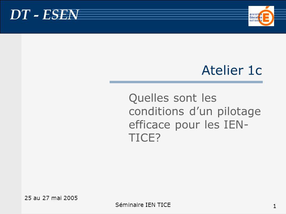 DT - ESEN 25 au 27 mai 2005 Séminaire IEN TICE 1 Atelier 1c Quelles sont les conditions dun pilotage efficace pour les IEN- TICE?
