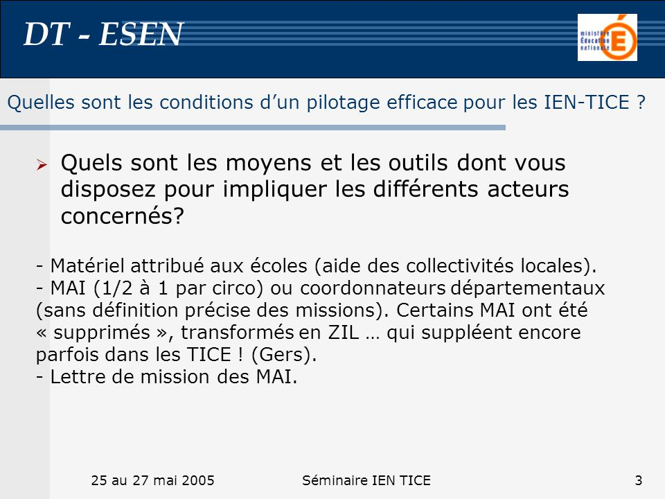 DT - ESEN 25 au 27 mai 2005Séminaire IEN TICE3 Quelles sont les conditions dun pilotage efficace pour les IEN-TICE ? Quels sont les moyens et les outi