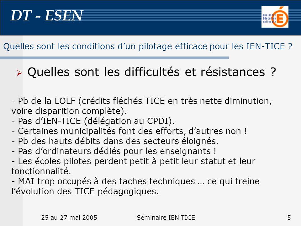 DT - ESEN 25 au 27 mai 2005Séminaire IEN TICE5 Quelles sont les difficultés et résistances ? - Pb de la LOLF (crédits fléchés TICE en très nette dimin
