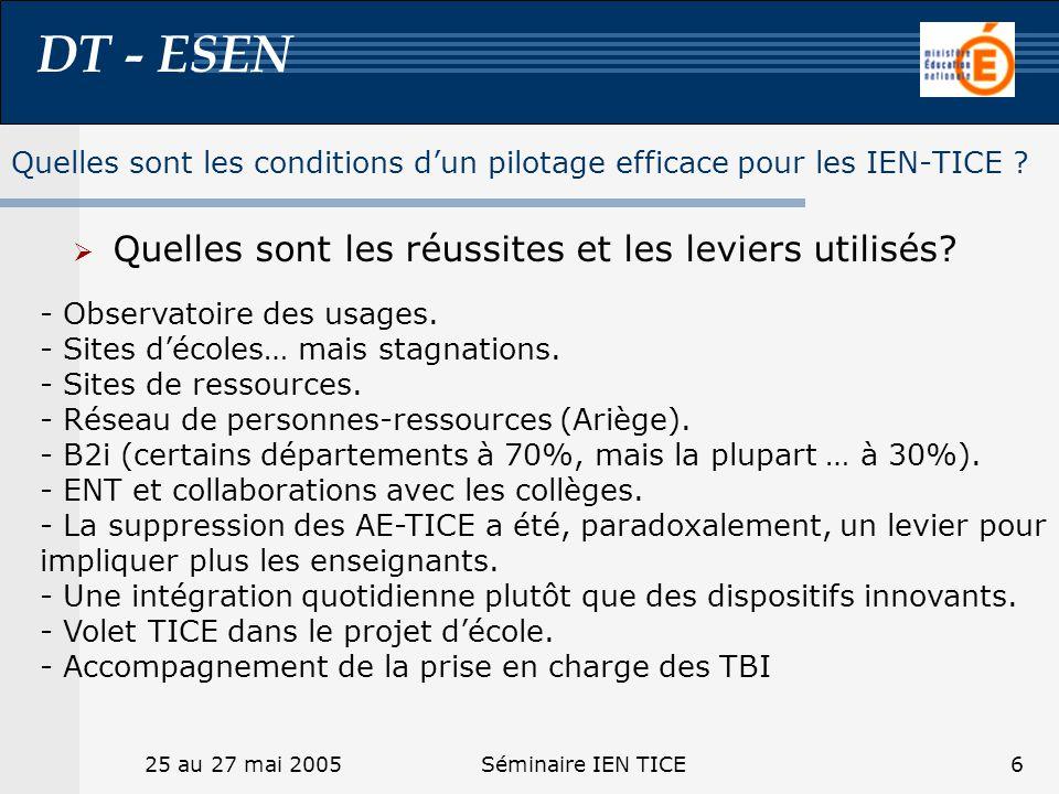 DT - ESEN 25 au 27 mai 2005Séminaire IEN TICE6 Quelles sont les réussites et les leviers utilisés? Quelles sont les conditions dun pilotage efficace p