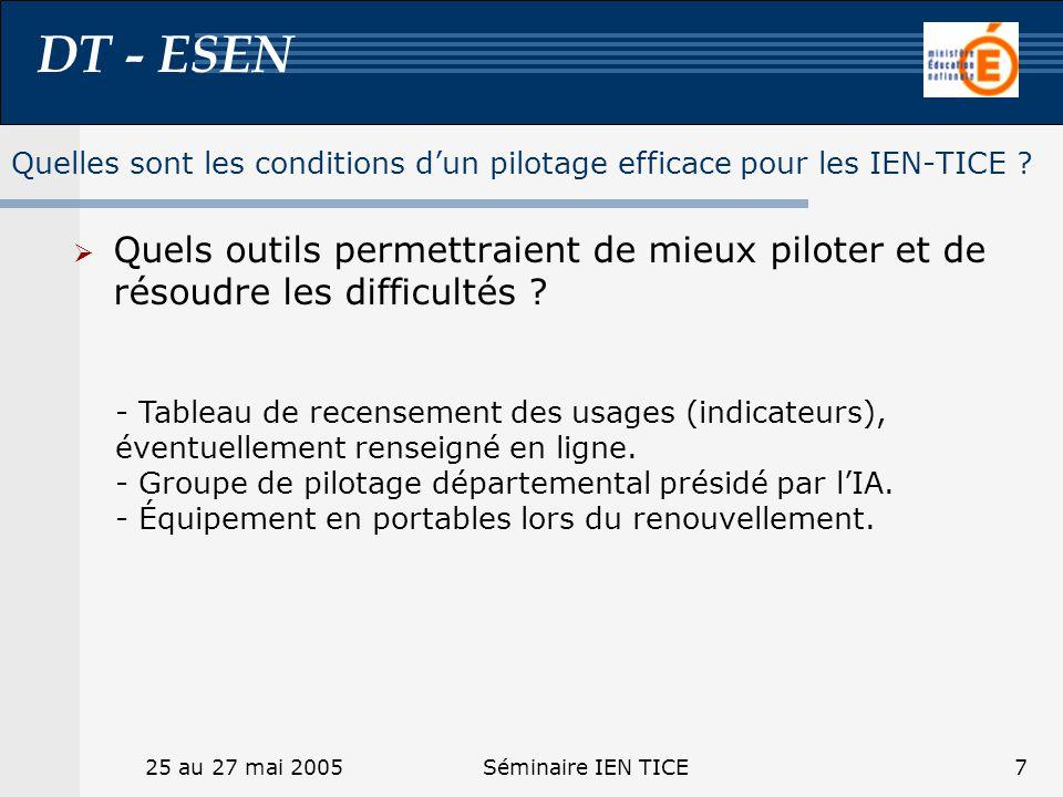 DT - ESEN 25 au 27 mai 2005Séminaire IEN TICE7 Quels outils permettraient de mieux piloter et de résoudre les difficultés ? Quelles sont les condition