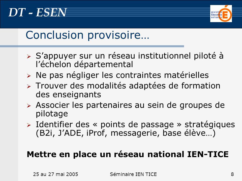 DT - ESEN 25 au 27 mai 2005Séminaire IEN TICE8 Conclusion provisoire… Sappuyer sur un réseau institutionnel piloté à léchelon départemental Ne pas nég