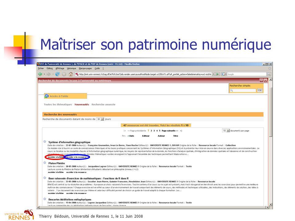 Thierry Bédouin, Université de Rennes 1, le 11 Juin 2008 Maîtriser son patrimoine numérique