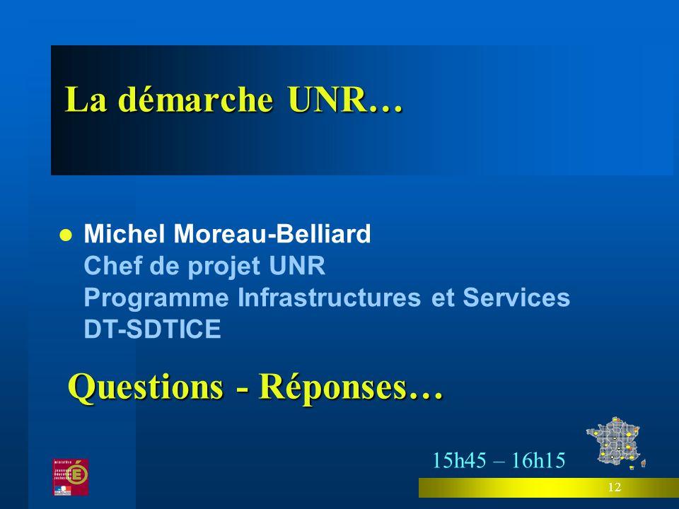 12 Michel Moreau-Belliard Chef de projet UNR Programme Infrastructures et Services DT-SDTICE La démarche UNR… 15h45 – 16h15 Questions - Réponses…