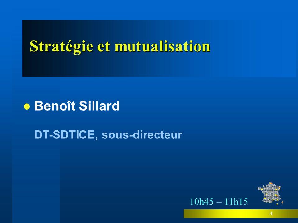 4 Stratégie et mutualisation Stratégie et mutualisation Benoît Sillard DT-SDTICE, sous-directeur 10h45 – 11h15
