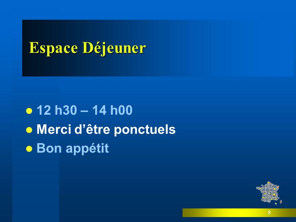 8 Espace Déjeuner 12 h30 – 14 h00 Merci dêtre ponctuels Bon appétit