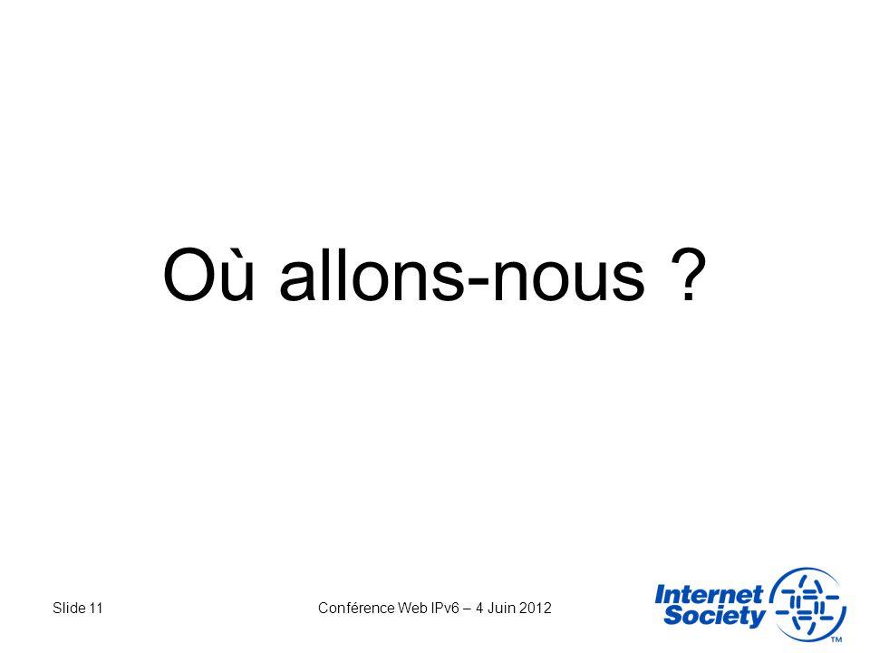Slide 11Conférence Web IPv6 – 4 Juin 2012 Où allons-nous ?