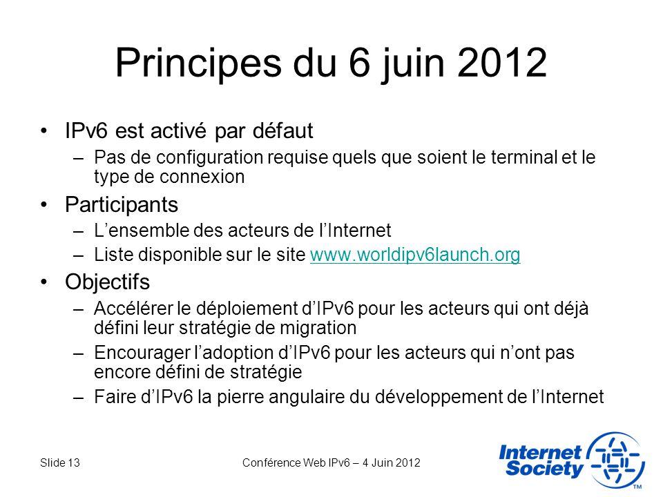 Slide 13Conférence Web IPv6 – 4 Juin 2012 Principes du 6 juin 2012 IPv6 est activé par défaut –Pas de configuration requise quels que soient le termin