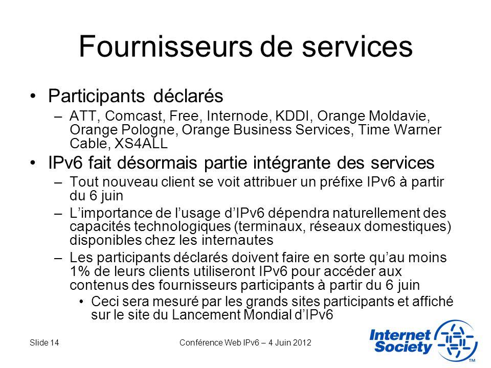 Slide 14Conférence Web IPv6 – 4 Juin 2012 Fournisseurs de services Participants déclarés –ATT, Comcast, Free, Internode, KDDI, Orange Moldavie, Orange