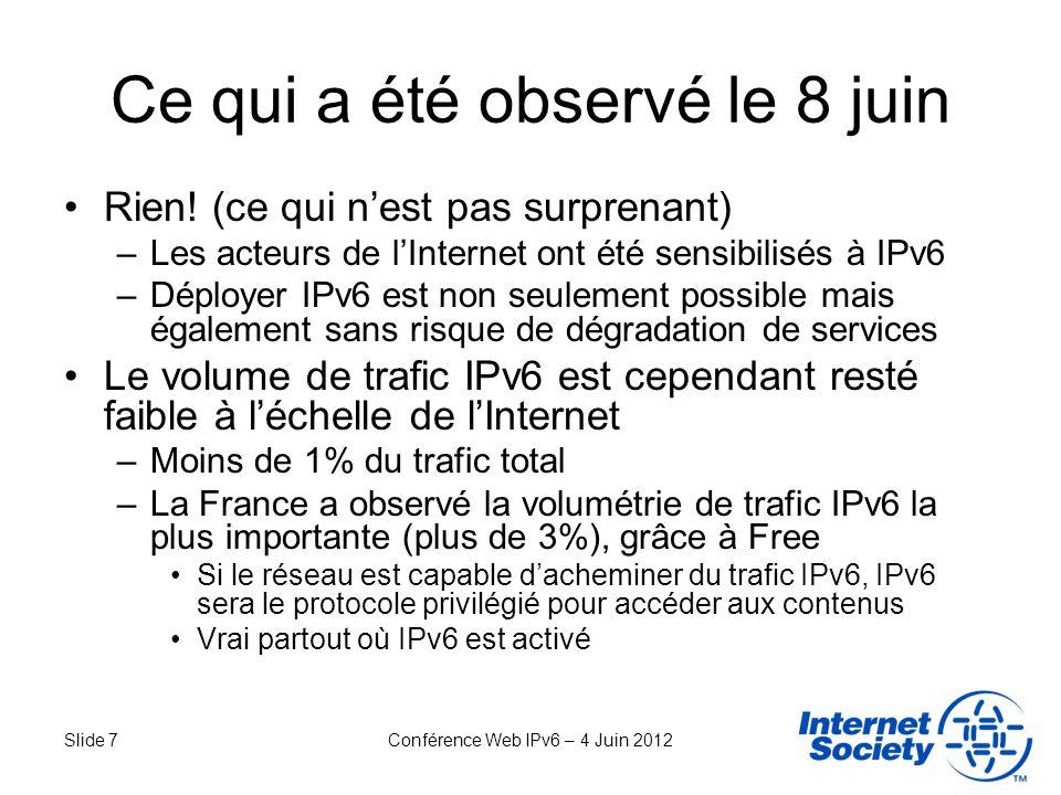 Slide 7Conférence Web IPv6 – 4 Juin 2012 Ce qui a été observé le 8 juin Rien! (ce qui nest pas surprenant) –Les acteurs de lInternet ont été sensibili