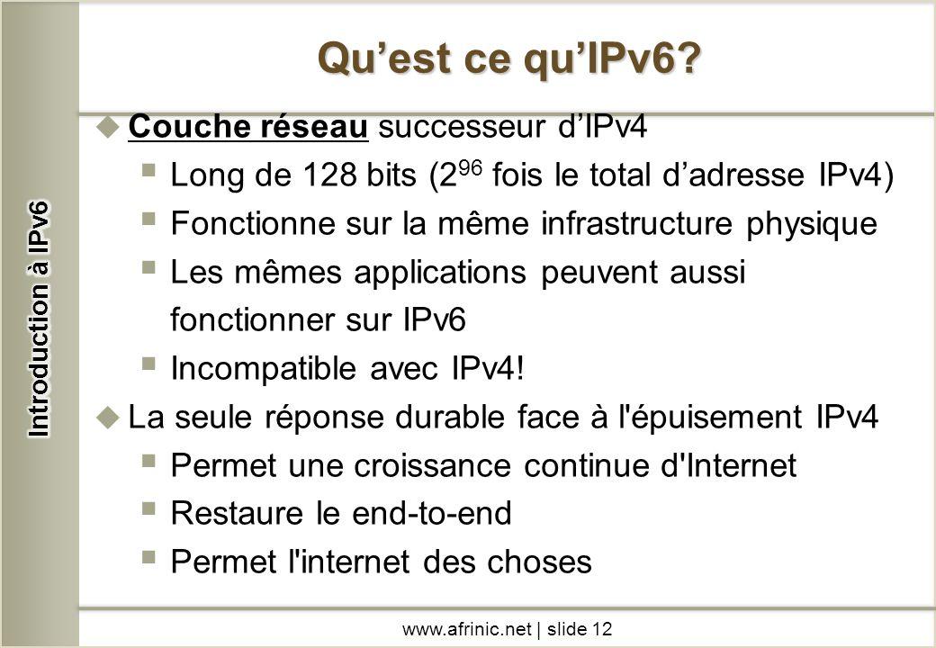 Couche réseau successeur dIPv4 Long de 128 bits (2 96 fois le total dadresse IPv4) Fonctionne sur la même infrastructure physique Les mêmes applicatio