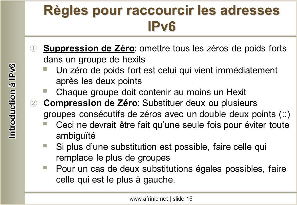 Suppression de Zéro: omettre tous les zéros de poids forts dans un groupe de hexits Un zéro de poids fort est celui qui vient immédiatement après les