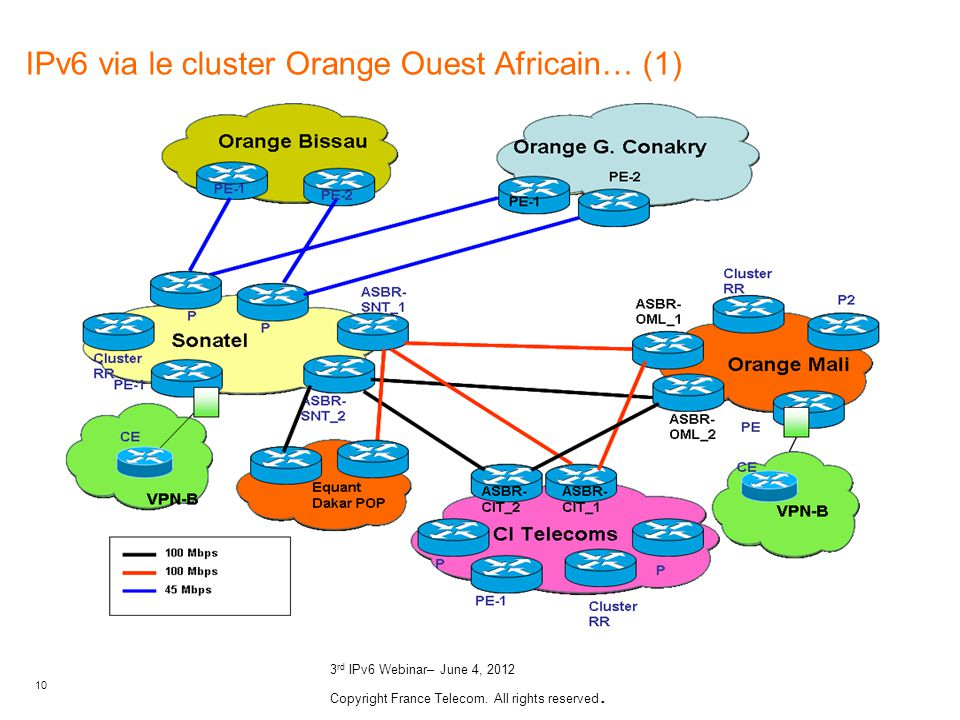 10 3 rd IPv6 Webinar– June 4, 2012 Copyright France Telecom. All rights reserved. IPv6 via le cluster Orange Ouest Africain… (1)