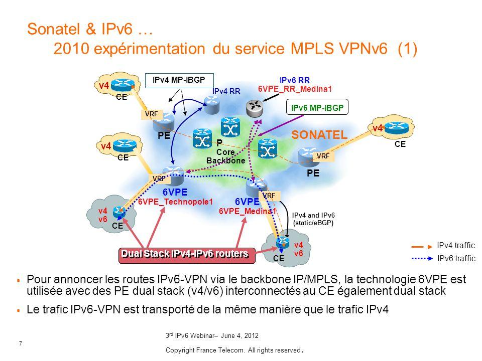 7 3 rd IPv6 Webinar– June 4, 2012 Copyright France Telecom. All rights reserved. Core Backbone 6VPE 6VPE_Technopole1 P IPv6 RR 6VPE_RR_Medina1 IPv4 an