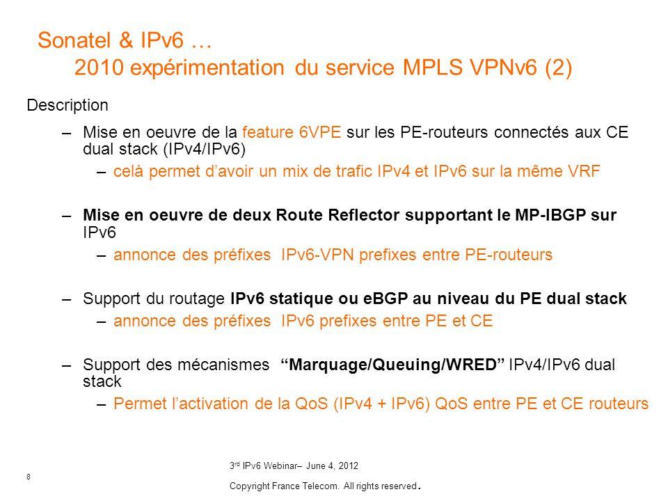 8 3 rd IPv6 Webinar– June 4, 2012 Copyright France Telecom. All rights reserved. Description –Mise en oeuvre de la feature 6VPE sur les PE-routeurs co