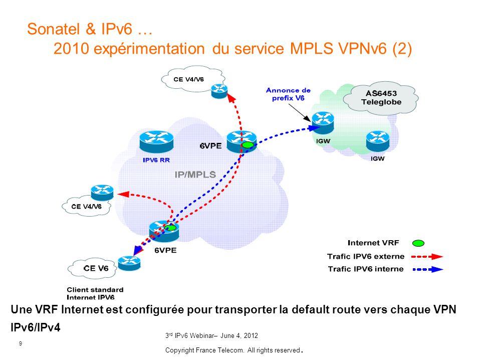 9 3 rd IPv6 Webinar– June 4, 2012 Copyright France Telecom. All rights reserved. Une VRF Internet est configurée pour transporter la default route ver