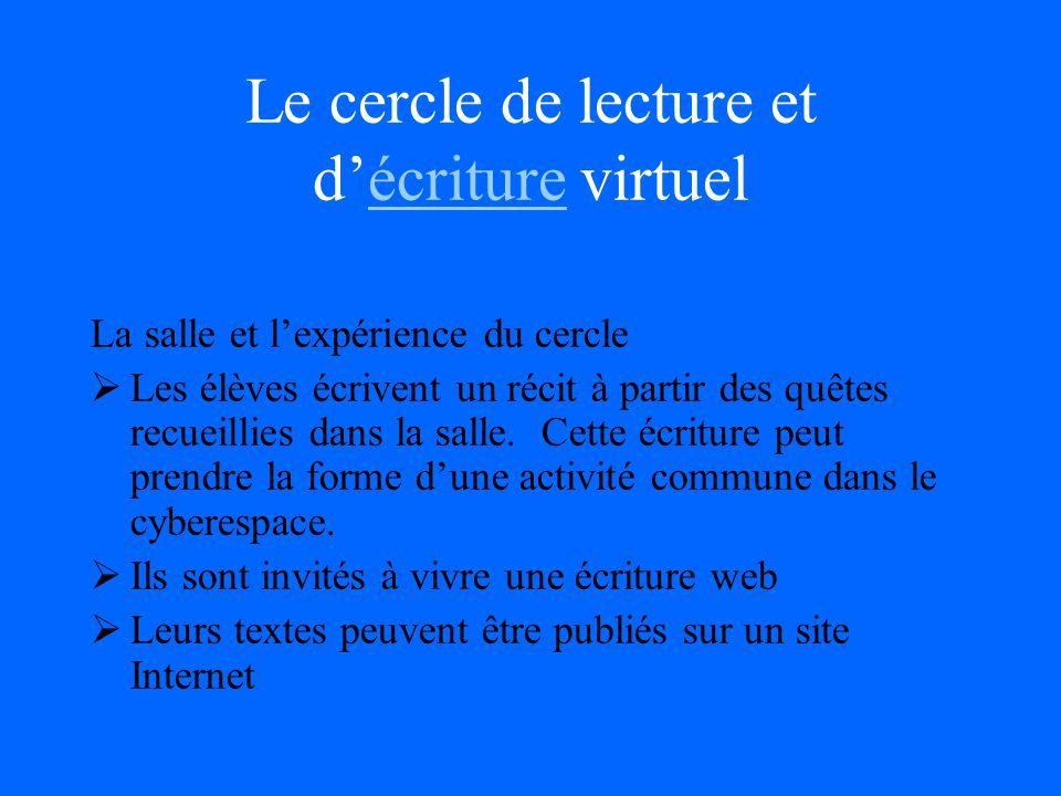 Le cercle de lecture et décriture virtuel La salle et lexpérience du cercle Les élèves écrivent un récit à partir des quêtes recueillies dans la salle.