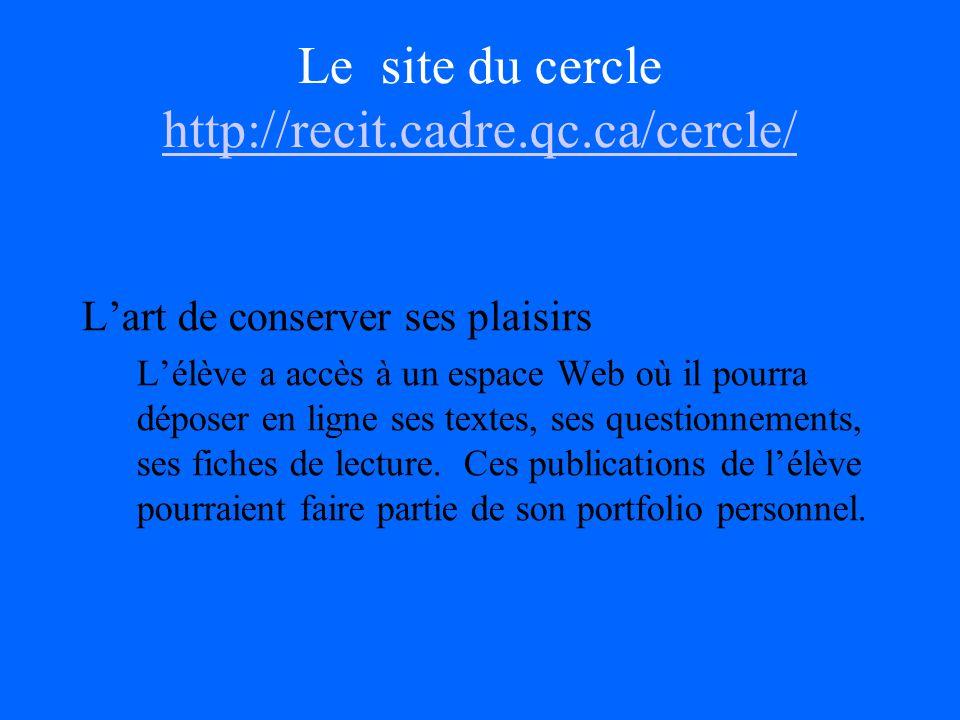 Le site du cercle http://recit.cadre.qc.ca/cercle/ http://recit.cadre.qc.ca/cercle/ Lart de conserver ses plaisirs Lélève a accès à un espace Web où il pourra déposer en ligne ses textes, ses questionnements, ses fiches de lecture.