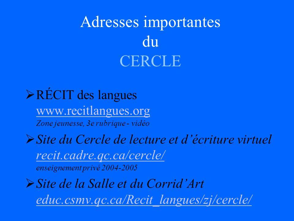 Adresses importantes du CERCLE RÉCIT des langues www.recitlangues.org Zone jeunesse, 3e rubrique - vidéo www.recitlangues.org Site du Cercle de lecture et décriture virtuel recit.cadre.qc.ca/cercle/ enseignement privé 2004-2005 recit.cadre.qc.ca/cercle/ Site de la Salle et du CorridArt educ.csmv.qc.ca/Recit_langues/zj/cercle/ educ.csmv.qc.ca/Recit_langues/zj/cercle/