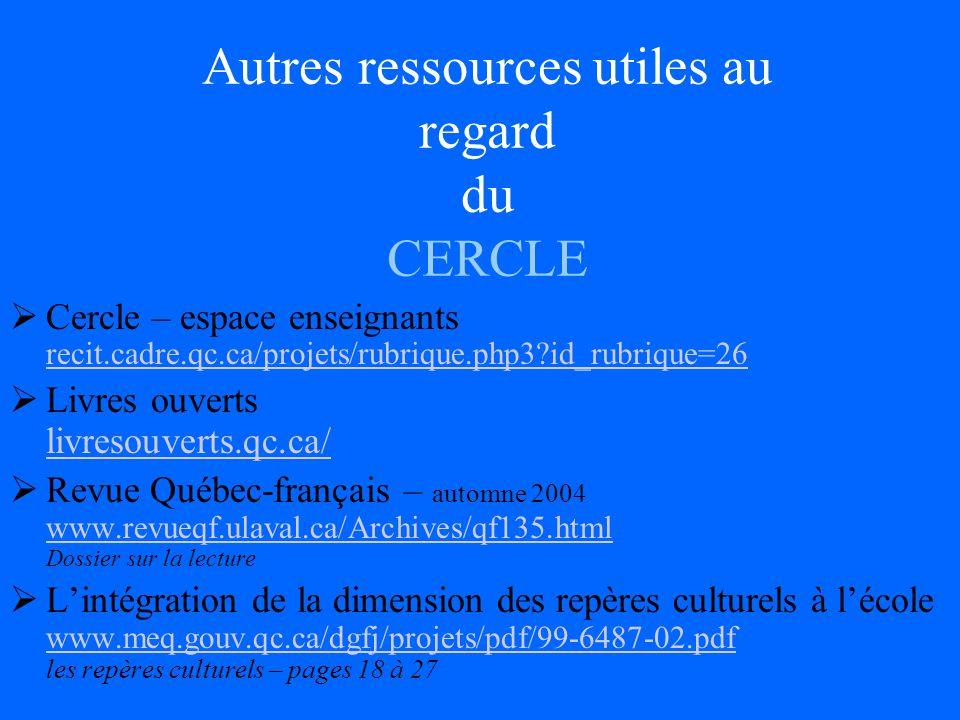 Autres ressources utiles au regard du CERCLE Cercle – espace enseignants recit.cadre.qc.ca/projets/rubrique.php3?id_rubrique=26 recit.cadre.qc.ca/projets/rubrique.php3?id_rubrique=26 Livres ouverts livresouverts.qc.ca/ livresouverts.qc.ca/ Revue Québec-français – automne 2004 www.revueqf.ulaval.ca/Archives/qf135.html Dossier sur la lecture www.revueqf.ulaval.ca/Archives/qf135.html Lintégration de la dimension des repères culturels à lécole www.meq.gouv.qc.ca/dgfj/projets/pdf/99-6487-02.pdf les repères culturels – pages 18 à 27 www.meq.gouv.qc.ca/dgfj/projets/pdf/99-6487-02.pdf