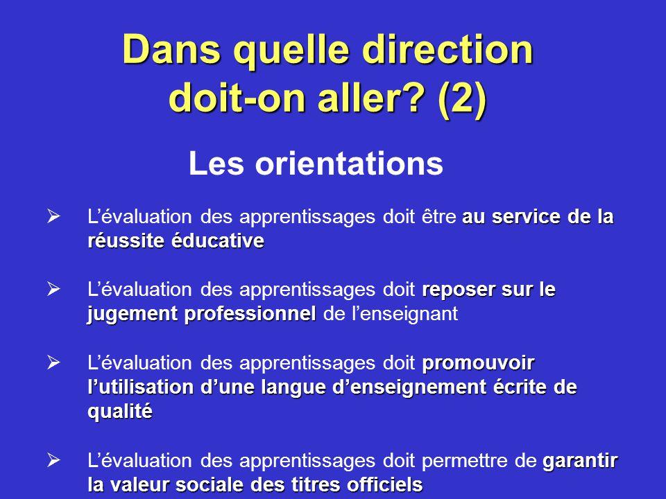 Dans quelle direction doit-on aller? (1) Orientations Principes Lignes directrices