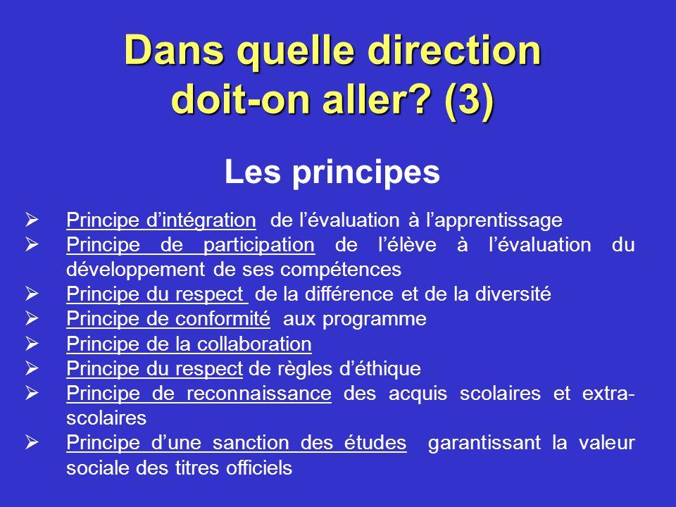 Dans quelle direction doit-on aller? (2) Les orientations au service de la réussite éducative Lévaluation des apprentissages doit être au service de l