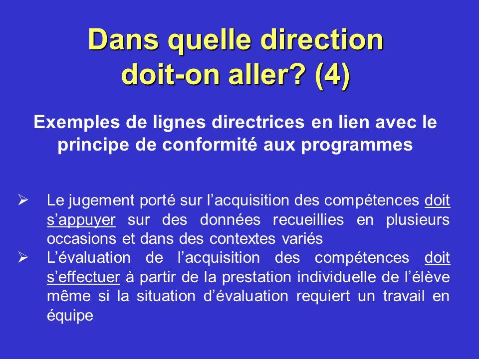 Dans quelle direction doit-on aller? (3) Les principes Principe dintégration de lévaluation à lapprentissage Principe de participation de lélève à lév