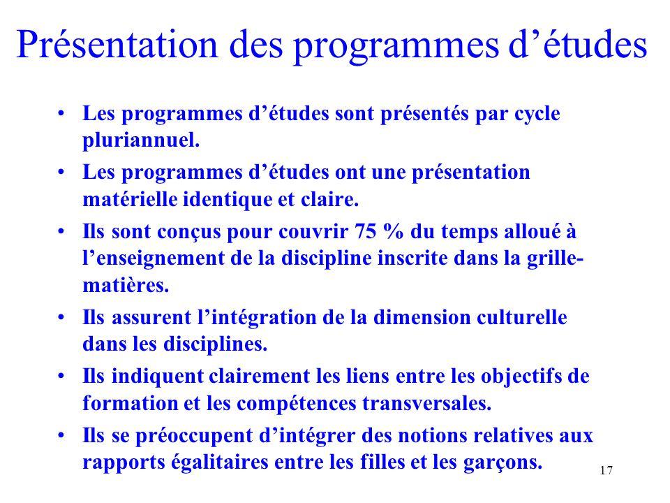 17 Présentation des programmes détudes Les programmes détudes sont présentés par cycle pluriannuel.