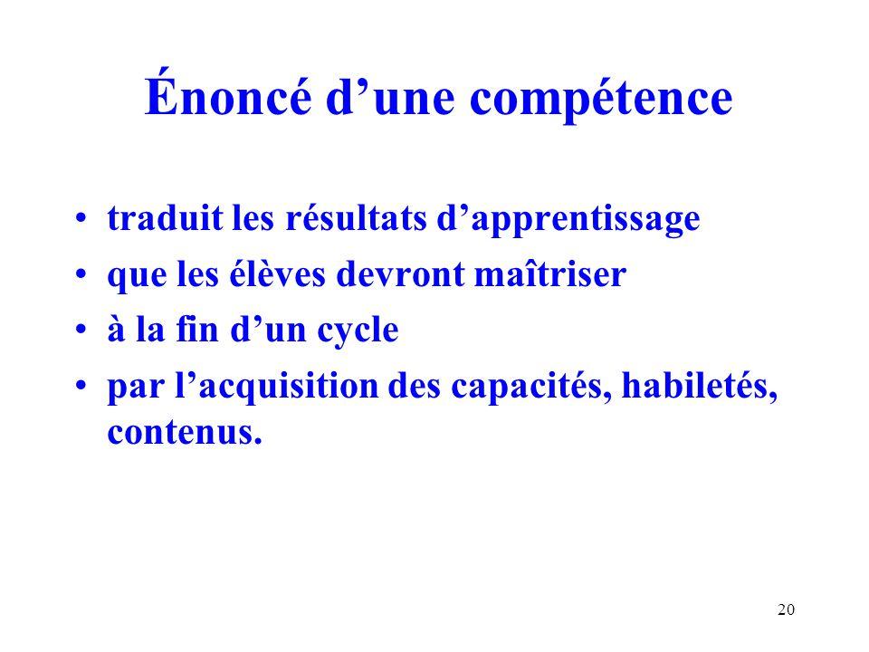 20 Énoncé dune compétence traduit les résultats dapprentissage que les élèves devront maîtriser à la fin dun cycle par lacquisition des capacités, habiletés, contenus.