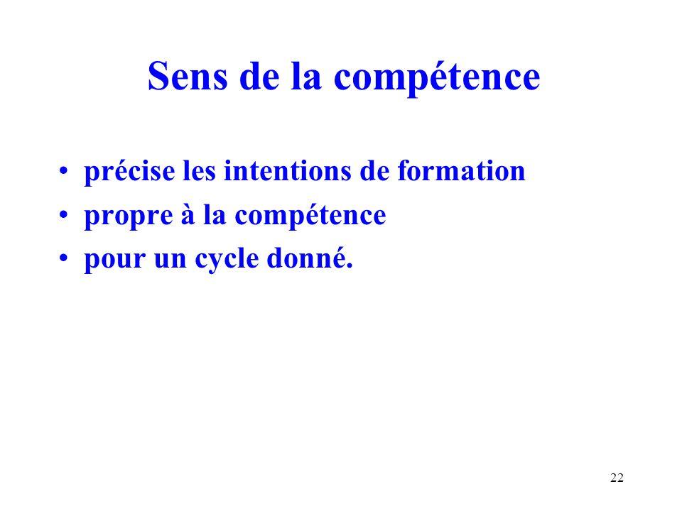 22 Sens de la compétence précise les intentions de formation propre à la compétence pour un cycle donné.