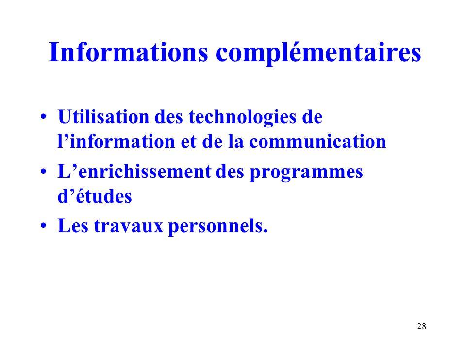 28 Informations complémentaires Utilisation des technologies de linformation et de la communication Lenrichissement des programmes détudes Les travaux personnels.