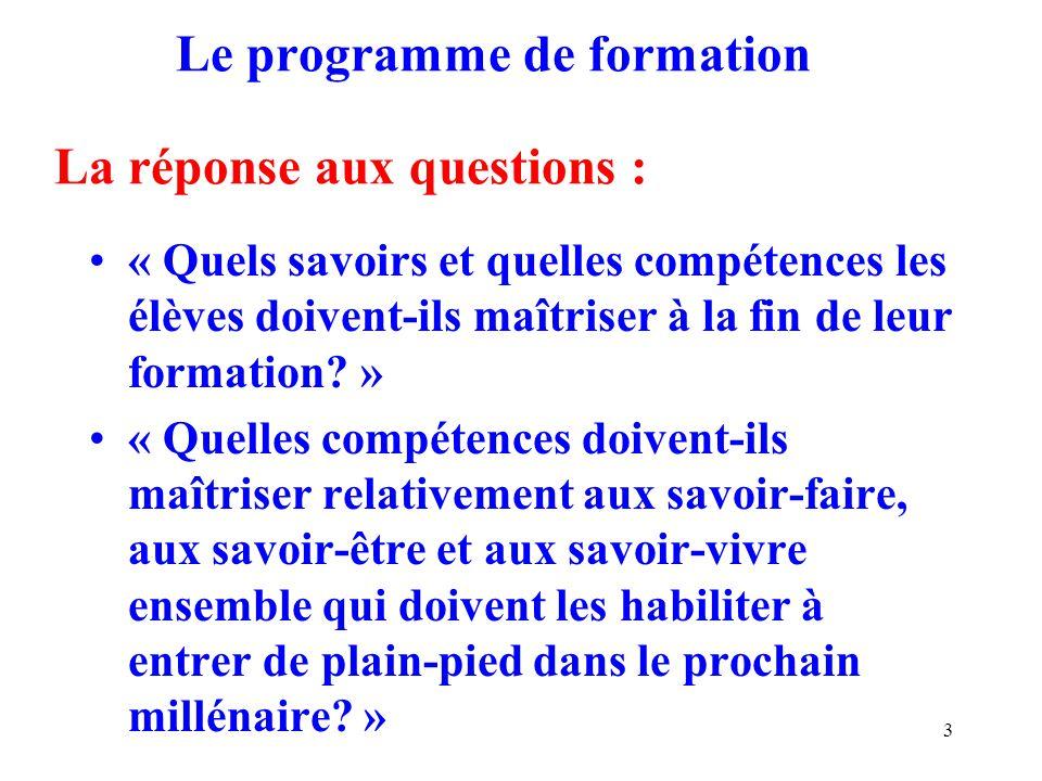 3 Le programme de formation La réponse aux questions : « Quels savoirs et quelles compétences les élèves doivent-ils maîtriser à la fin de leur formation.