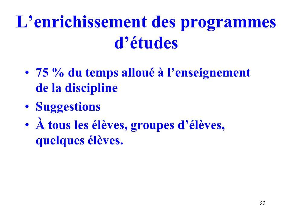30 Lenrichissement des programmes détudes 75 % du temps alloué à lenseignement de la discipline Suggestions À tous les élèves, groupes délèves, quelques élèves.