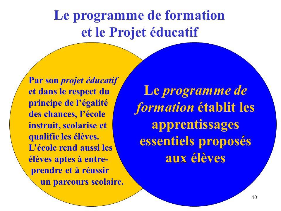 40 Le programme de formation et le Projet éducatif Par son projet éducatif et dans le respect du principe de légalité des chances, lécole instruit, scolarise et qualifie les élèves.