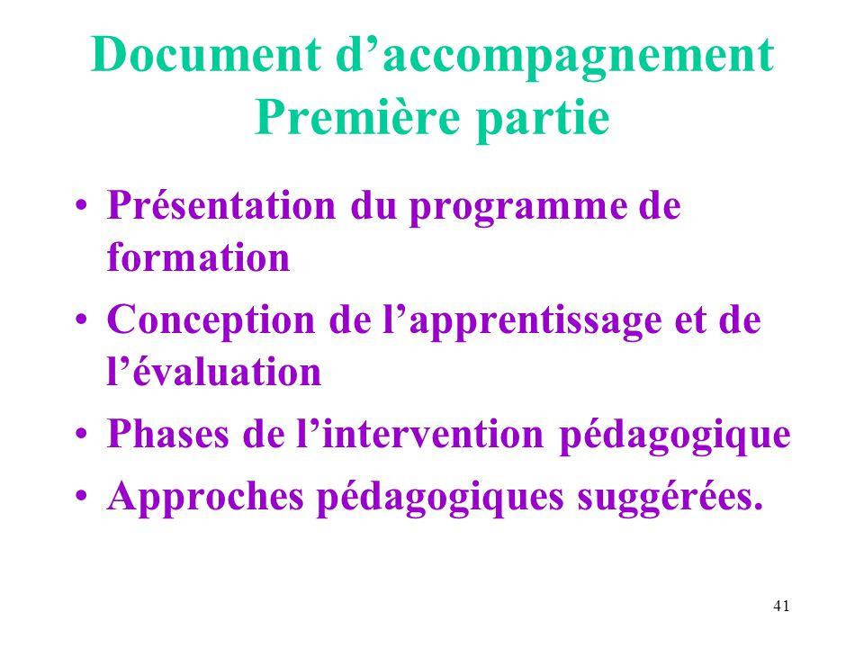 41 Document daccompagnement Première partie Présentation du programme de formation Conception de lapprentissage et de lévaluation Phases de lintervention pédagogique Approches pédagogiques suggérées.