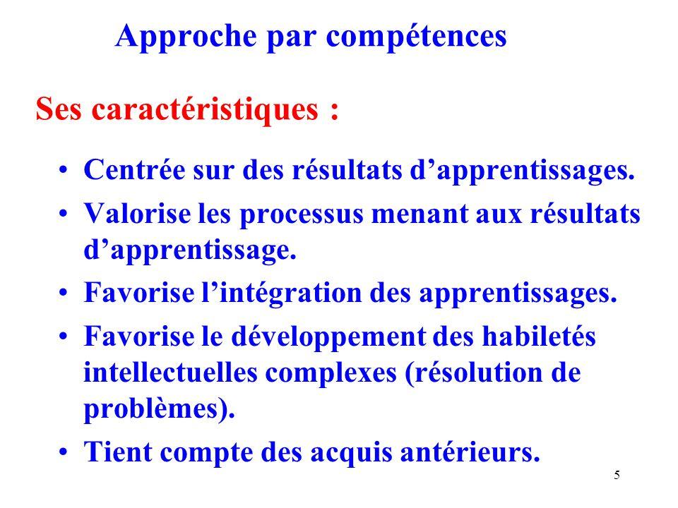 5 Approche par compétences Ses caractéristiques : Centrée sur des résultats dapprentissages.