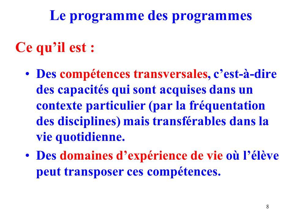 8 Le programme des programmes Ce quil est : Des compétences transversales, cest-à-dire des capacités qui sont acquises dans un contexte particulier (par la fréquentation des disciplines) mais transférables dans la vie quotidienne.
