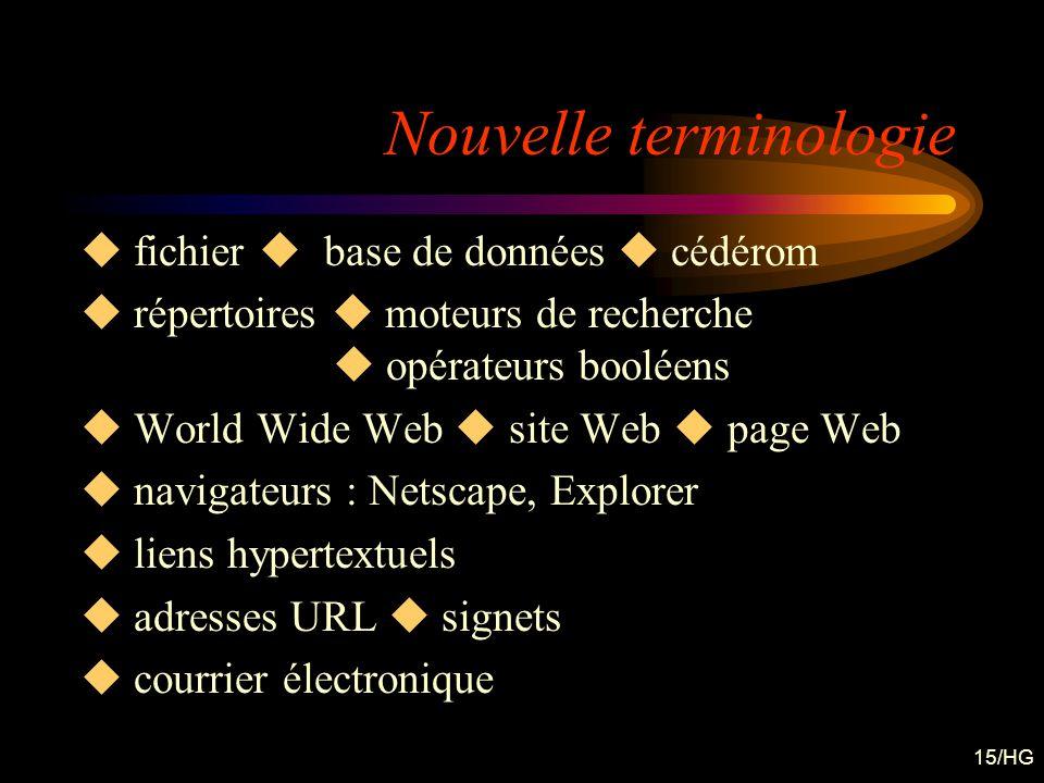 15/HG Nouvelle terminologie fichier base de données cédérom répertoires moteurs de recherche opérateurs booléens World Wide Web site Web page Web navi