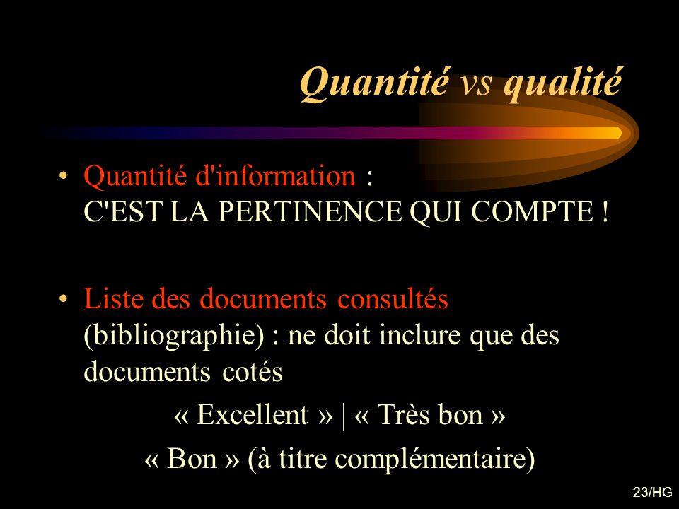 23/HG Quantité vs qualité Quantité d'information : C'EST LA PERTINENCE QUI COMPTE ! Liste des documents consultés (bibliographie) : ne doit inclure qu