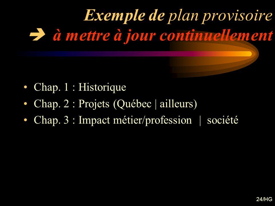 24/HG Exemple de plan provisoire à mettre à jour continuellement Chap. 1 : Historique Chap. 2 : Projets (Québec | ailleurs) Chap. 3 : Impact métier/pr