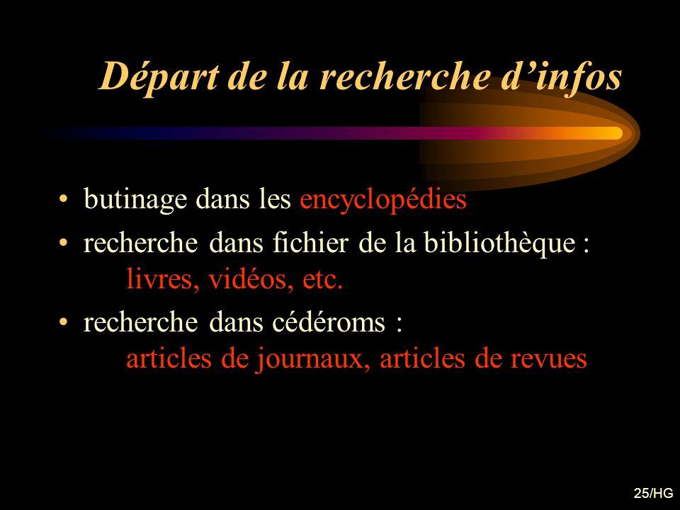 25/HG Départ de la recherche dinfos butinage dans les encyclopédies recherche dans fichier de la bibliothèque : livres, vidéos, etc. recherche dans cé